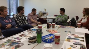 MA students discussing their collages