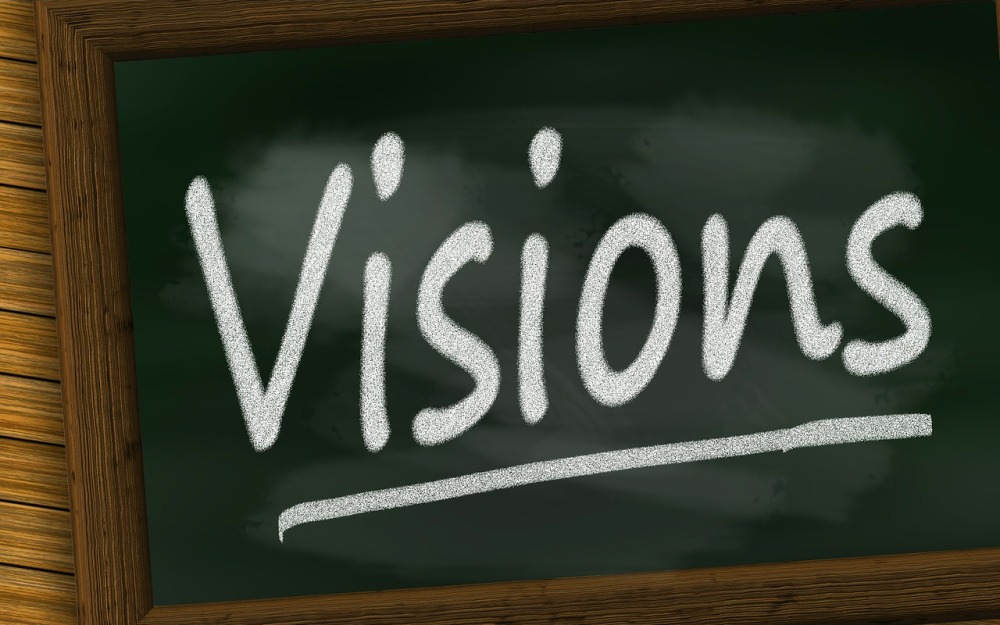 Vision written on a board. Representing a vision board